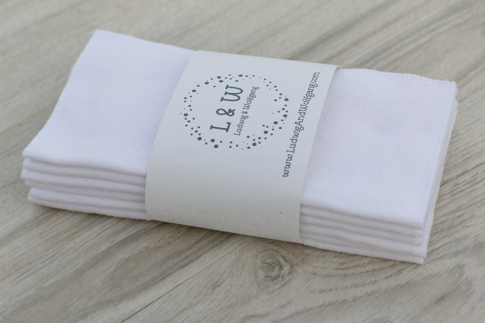 Bundle of Wipes (6 White, 2-Ply Flannel)