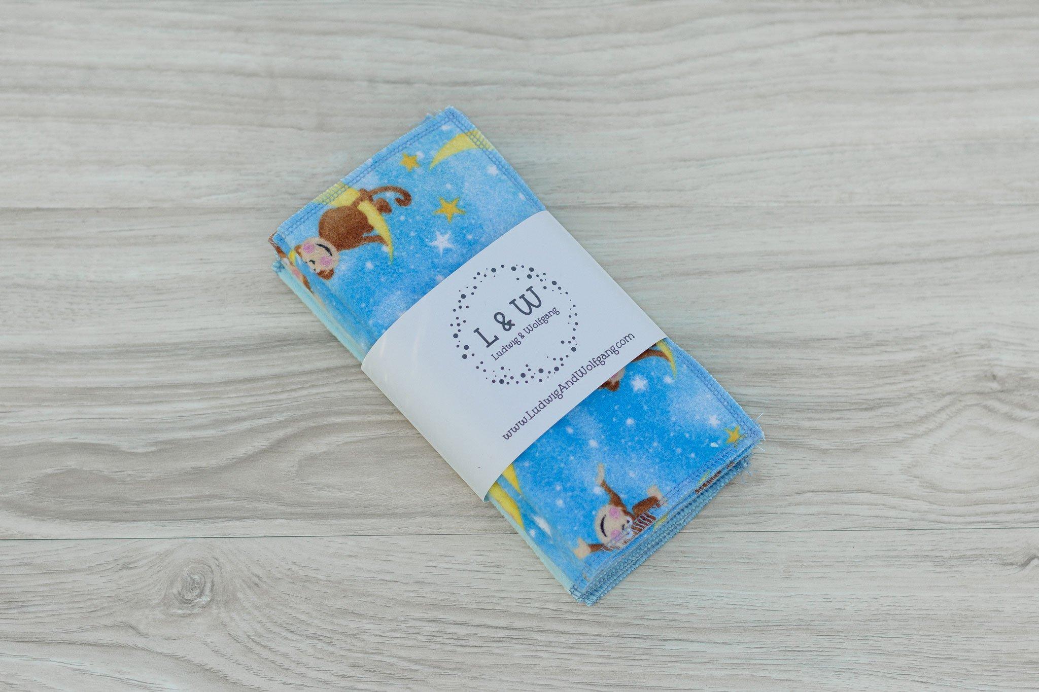 Limited Edition Cute Monkeys Blue Bundle of Wipes (3 ea. 2-Ply, Monkeys,Light Blue)
